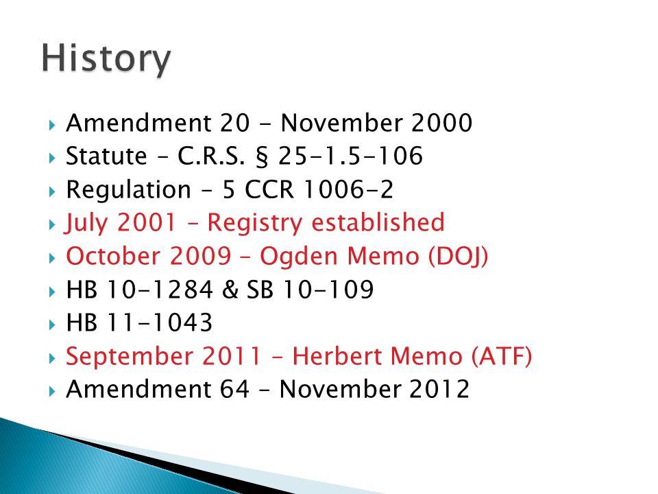  Amendment 20 - November 2000  Statute – C.R.S.