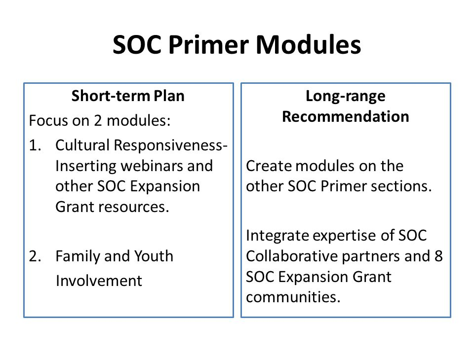 SOC Primer Modules Short-term Plan Focus on 2 modules: 1.Cultural Responsiveness- Inserting webinars and other SOC Expansion Grant resources.