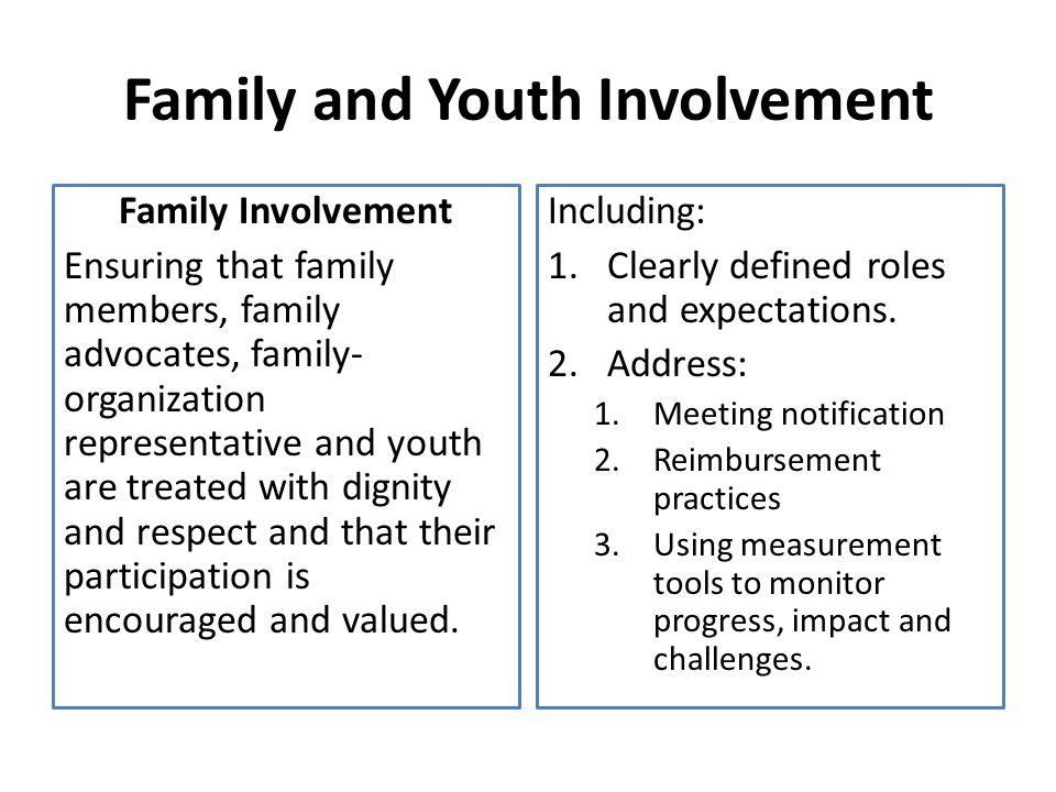 Family and Youth Involvement Family Involvement Ensuring that family members, family advocates, family- organization representative and youth are treated with dignity and respect and that their participation is encouraged and valued.