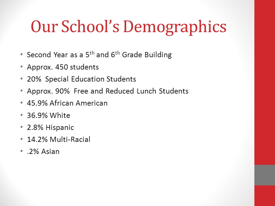 Our School's Demographics Second Year as a 5 th and 6 th Grade Building Approx.