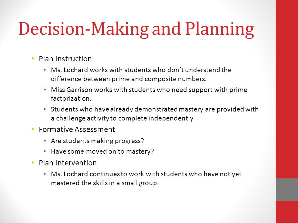 Decision-Making and Planning Plan Instruction Ms.