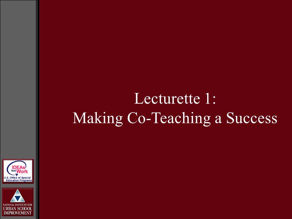 Lecturette 1: Making Co-Teaching a Success