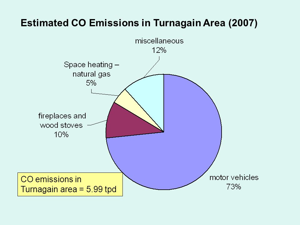 CO emissions in Turnagain area = 5.99 tpd Estimated CO Emissions in Turnagain Area (2007)