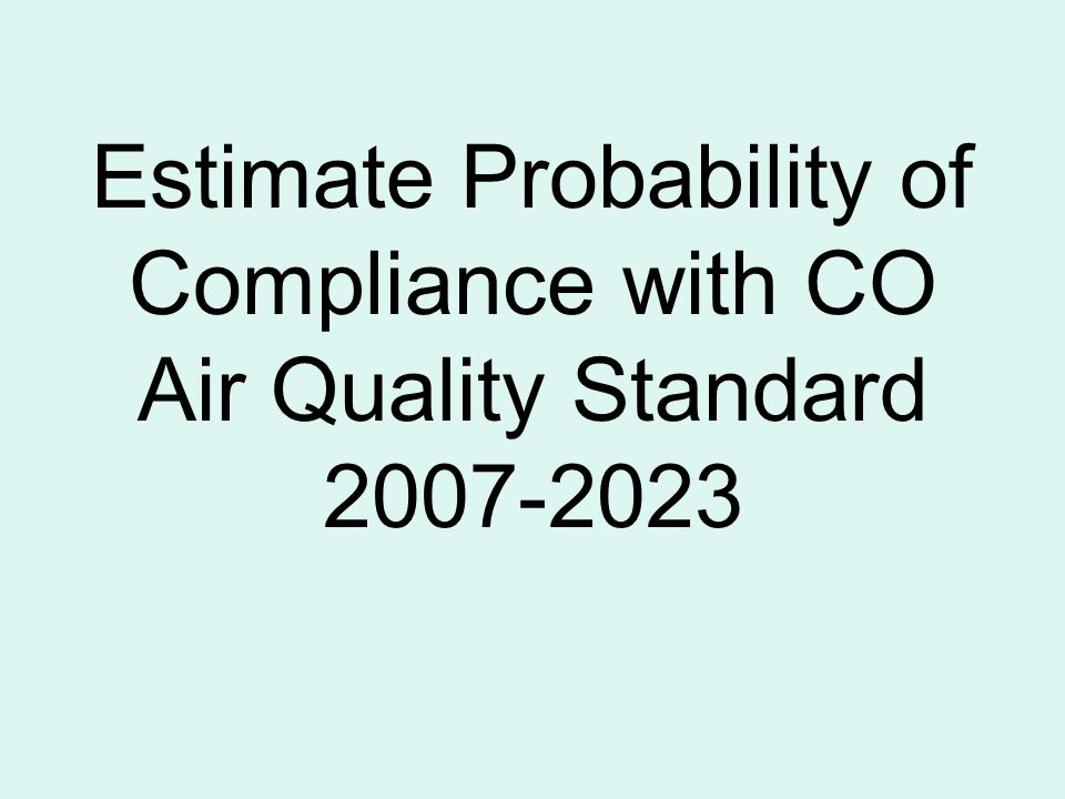 Estimate Probability of Compliance with CO Air Quality Standard 2007-2023