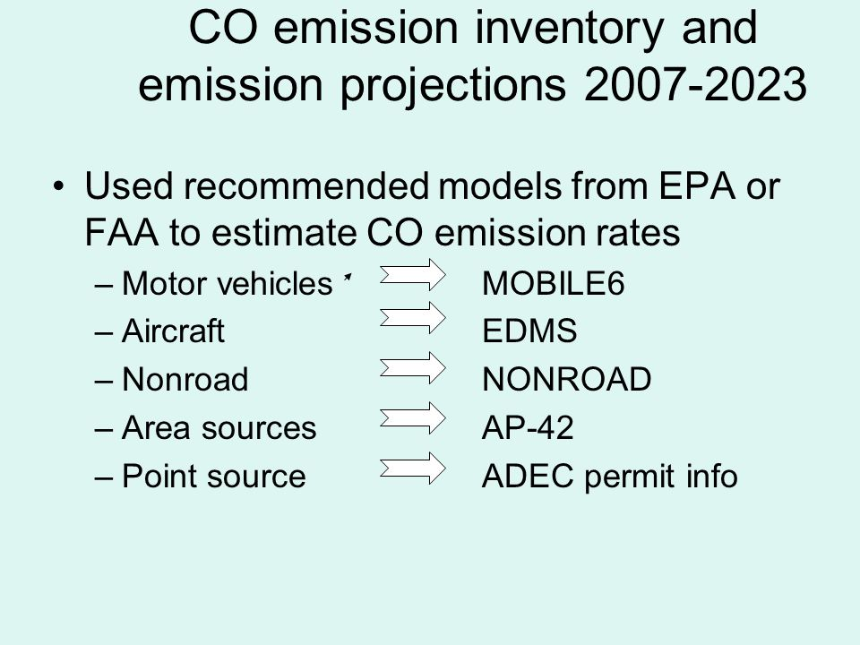 Original emission projections Worst Case analysis 200798.1% 200898.8%98.7% 200999.2%99.1% 201099.0%97.8% 201198.4%94.7% 201298.8%95.3% 201399.1%95.8% 201499.1%96.2% 201599.2%96.5% 201699.2%96.8% 201799.3%97.1% 201899.4%97.5% 201999.4%97.7% 202099.5%97.8% 202199.5%98.0% 202299.6%98.0% 202399.6%98.1% Even using worst case assumptions in sensitivity analysis, the probability of complying with the CO standard is well above 90% every year.