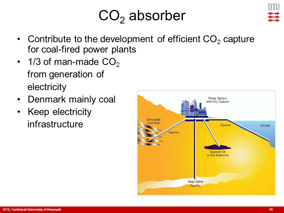 DTU, Technical University of Denmark 16 CO 2 absorber Contribute to the development of efficient CO 2 capture for coal-fired power plants 1/3 of man-made CO 2 from generation of electricity Denmark mainly coal Keep electricity infrastructure