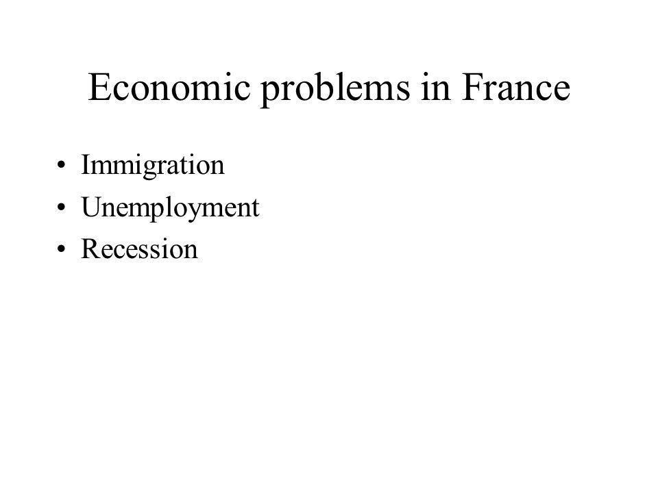 Economic problems in France Immigration Unemployment Recession
