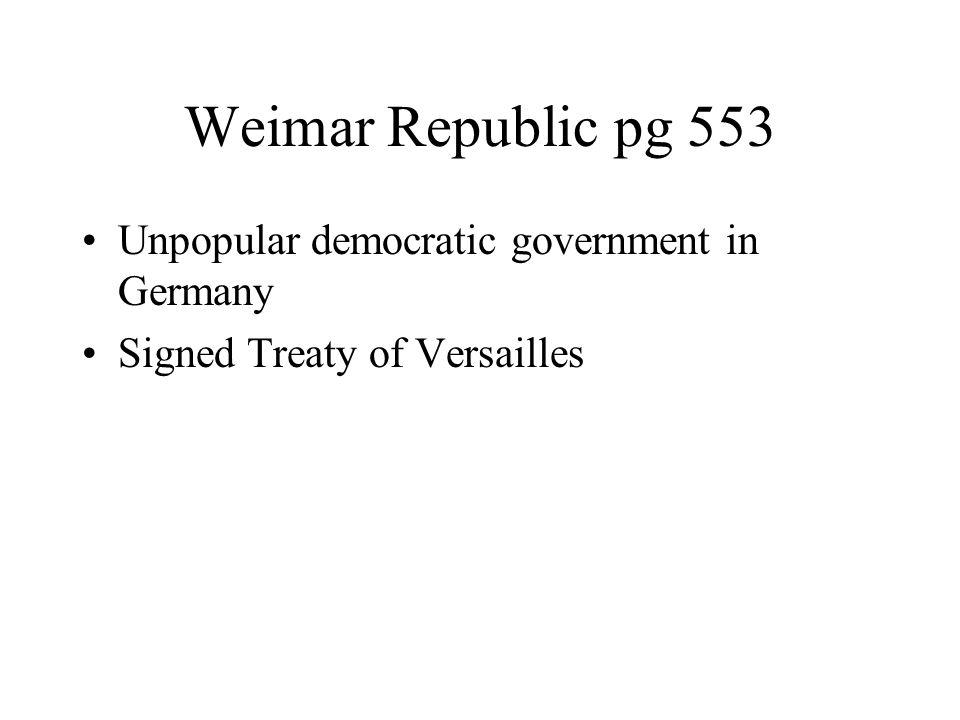 Weimar Republic pg 553 Unpopular democratic government in Germany Signed Treaty of Versailles