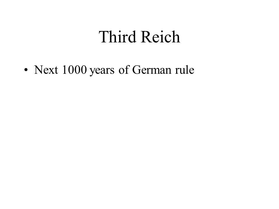 Third Reich Next 1000 years of German rule