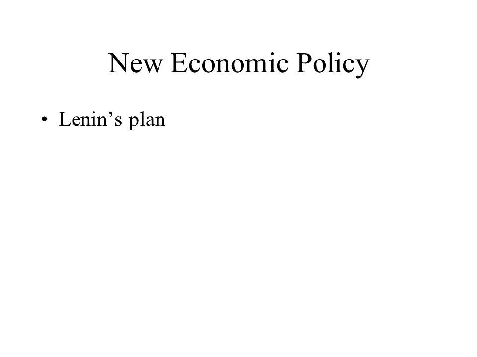 New Economic Policy Lenin's plan