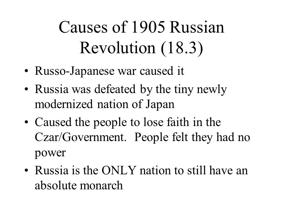 essay on the causes of the 1905 russian revolution Causes of the 1905 revolution long term russian revolution of 1905 russo-japanese war essay essay- 1905 revolution after catherine the ii.