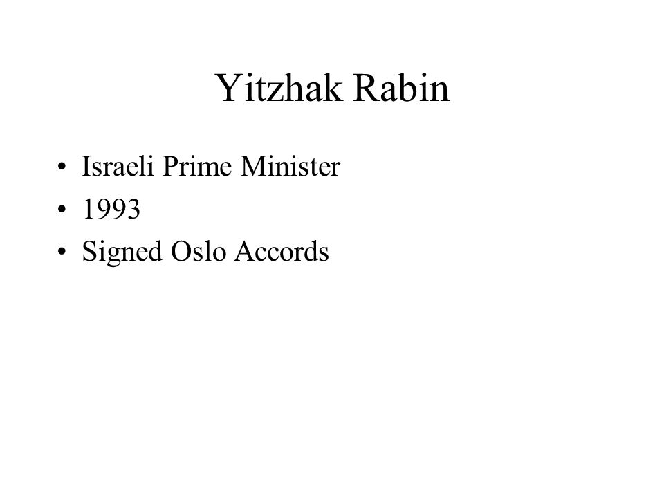 Yitzhak Rabin Israeli Prime Minister 1993 Signed Oslo Accords