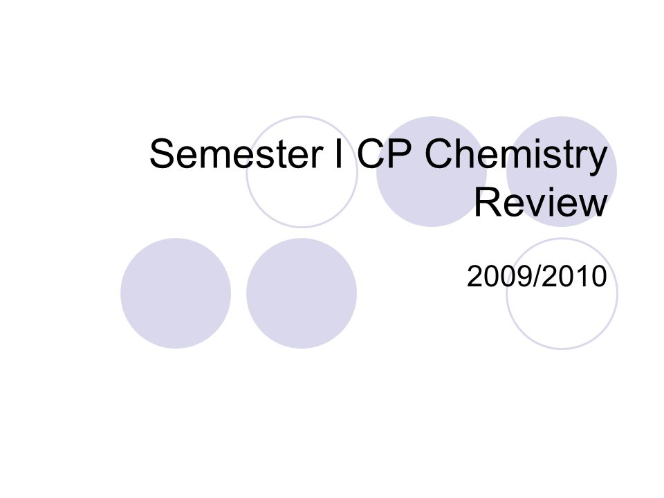 Semester I CP Chemistry Review 2009/2010