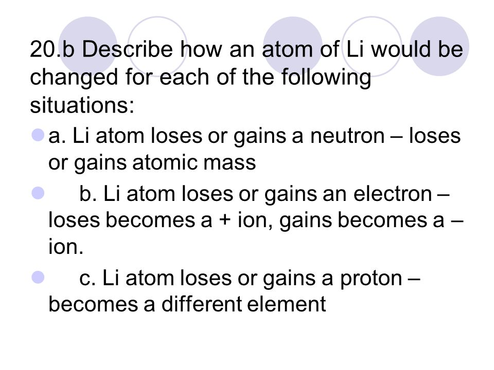 20.b Describe how an atom of Li would be changed for each of the following situations: a.