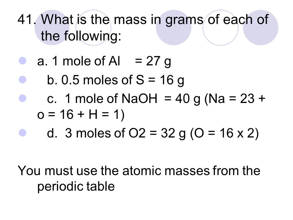 41. What is the mass in grams of each of the following: a.