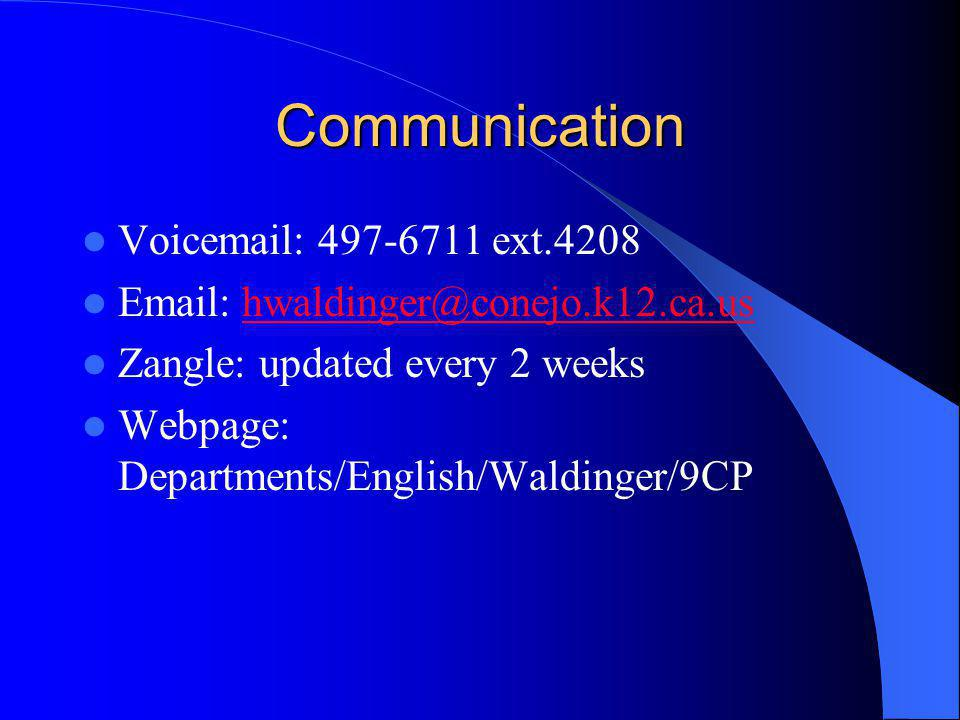Communication Voicemail: 497-6711 ext.4208 Email: hwaldinger@conejo.k12.ca.ushwaldinger@conejo.k12.ca.us Zangle: updated every 2 weeks Webpage: Departments/English/Waldinger/9CP