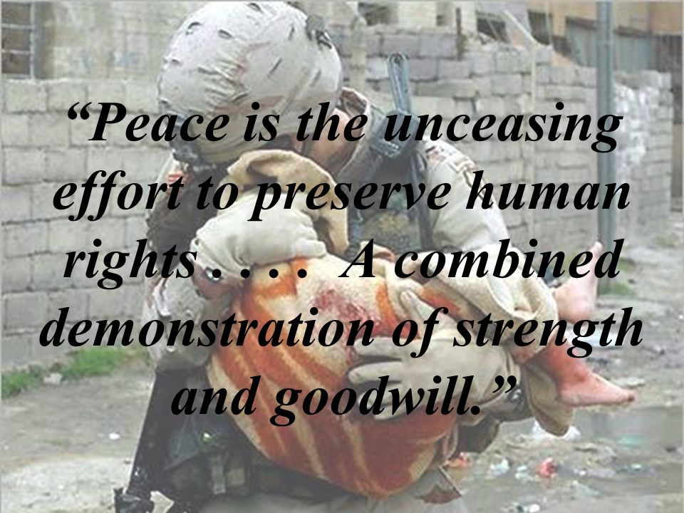 Peace is the unceasing effort to preserve human rights....