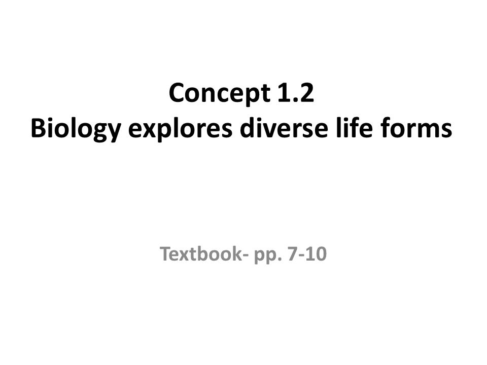 Concept 1.2 Biology explores diverse life forms Textbook- pp. 7-10