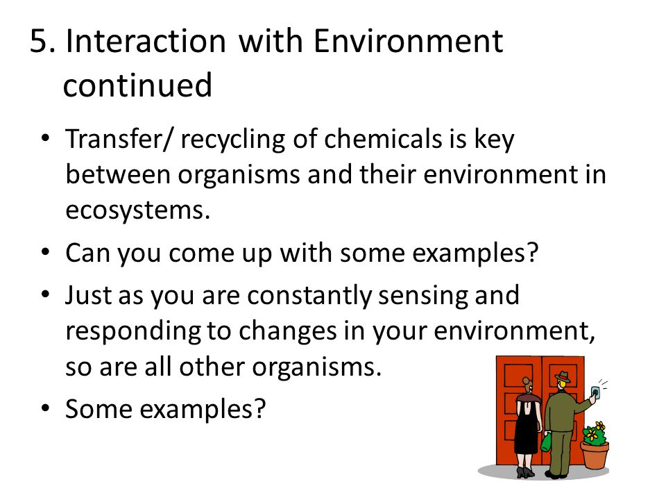 5. Interaction with Environment continued Transfer/ recycling of chemicals is key between organisms and their environment in ecosystems. Can you come