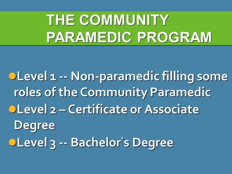 THE COMMUNITY PARAMEDIC PROGRAM Level 1 -- Non-paramedic filling some roles of the Community Paramedic Level 1 -- Non-paramedic filling some roles of the Community Paramedic Level 2 – Certificate or Associate Degree Level 2 – Certificate or Associate Degree Level 3 -- Bachelor ' s Degree Level 3 -- Bachelor ' s Degree