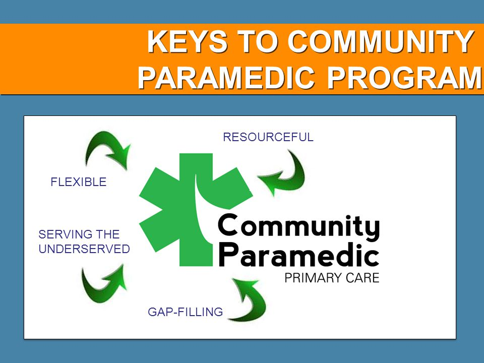 KEYS TO COMMUNITY PARAMEDIC PROGRAM GAP-FILLING FLEXIBLE RESOURCEFUL SERVING THE UNDERSERVED