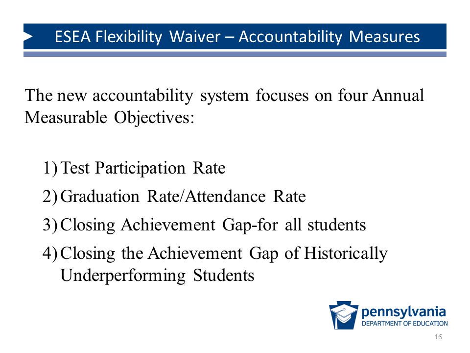 16 The new accountability system focuses on four Annual Measurable Objectives: 1)Test Participation Rate 2)Graduation Rate/Attendance Rate 3)Closing Achievement Gap-for all students 4)Closing the Achievement Gap of Historically Underperforming Students ESEA Flexibility Waiver – Accountability Measures