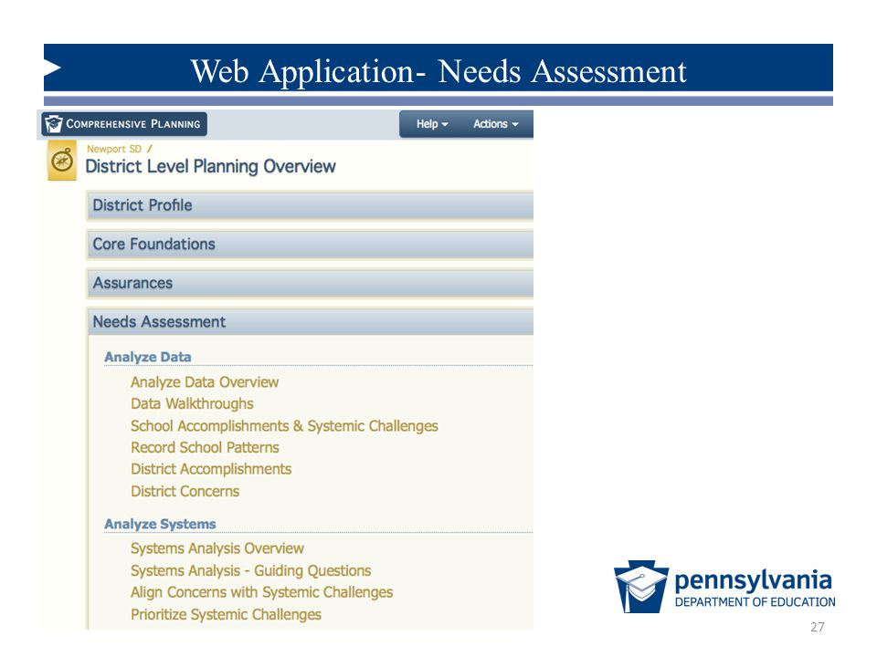 27 Web Application- Needs Assessment