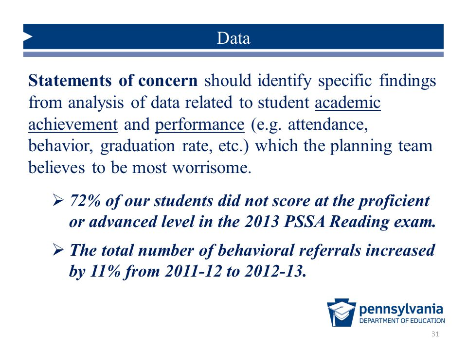 Statements of concern should identify specific findings from analysis of data related to student academic achievement and performance (e.g.