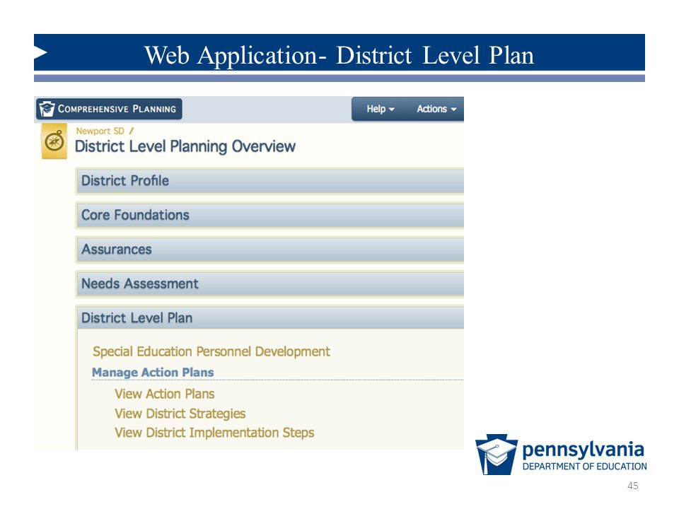 45 Web Application- District Level Plan