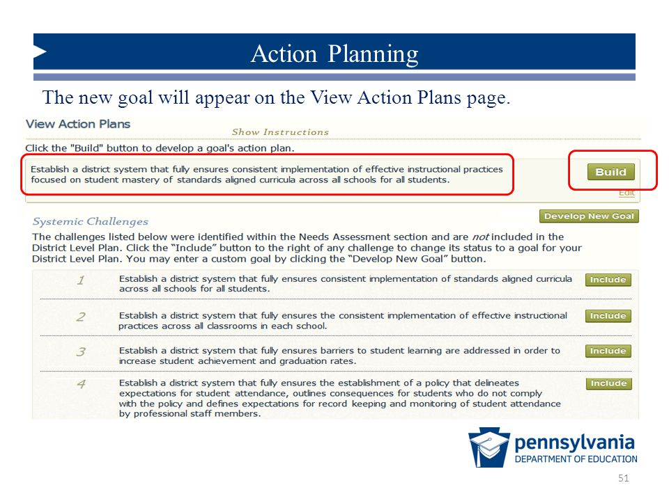 51 Action Planning The new goal will appear on the View Action Plans page.