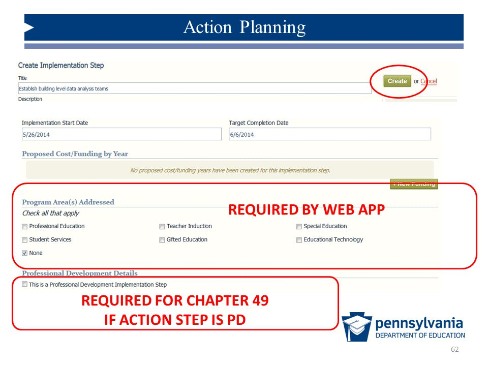 62 Action Planning REQUIRED BY WEB APP REQUIRED FOR CHAPTER 49 IF ACTION STEP IS PD