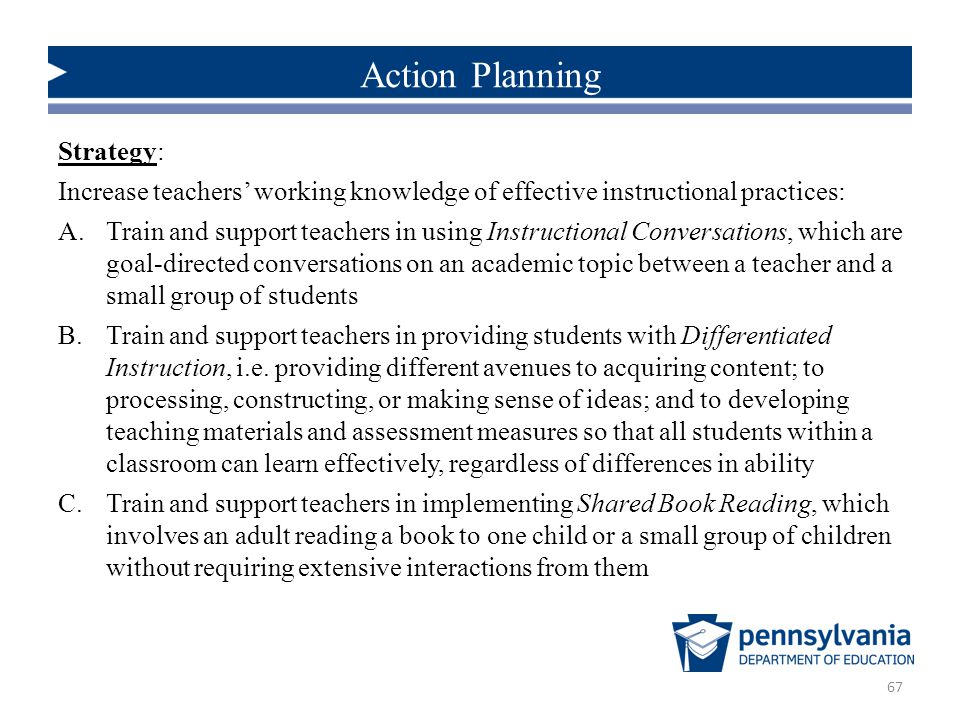 Strategy: Increase teachers' working knowledge of effective instructional practices: A.Train and support teachers in using Instructional Conversations, which are goal-directed conversations on an academic topic between a teacher and a small group of students B.Train and support teachers in providing students with Differentiated Instruction, i.e.