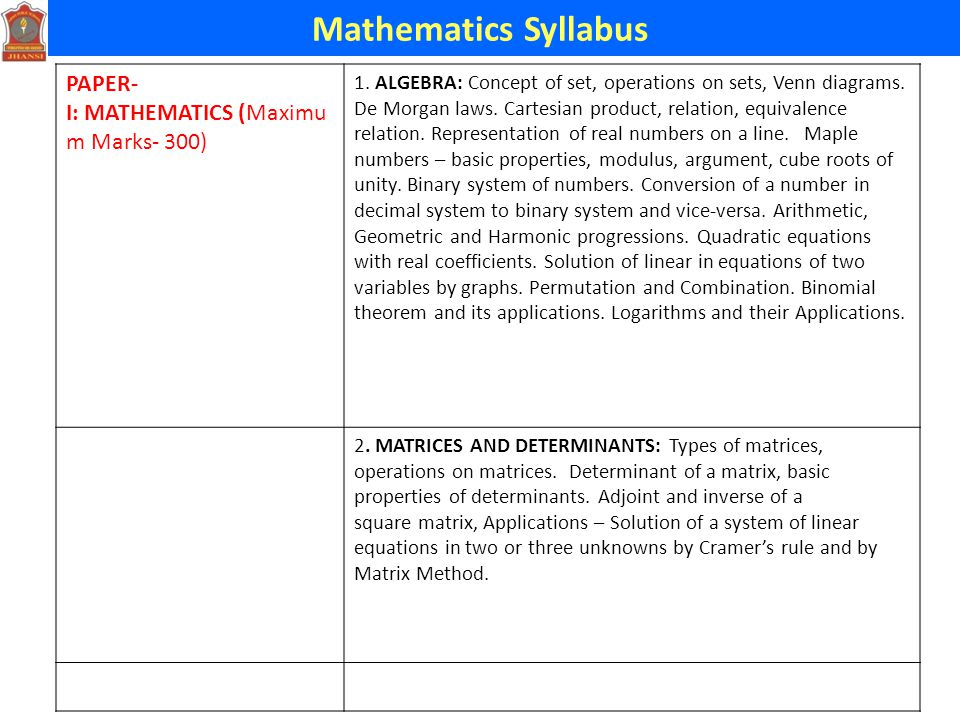 Mathematics Syllabus SubjectSyllabusStrategies Mathematics (300 marks) Idenyify topics of class Xi & XII This test will cover topics :- Integral Calculus, Differential Equations, Trigonometry, Algebra, Vector Algebra, Matrices and Determinants, Analytical Geometry, Statistics & Probability.