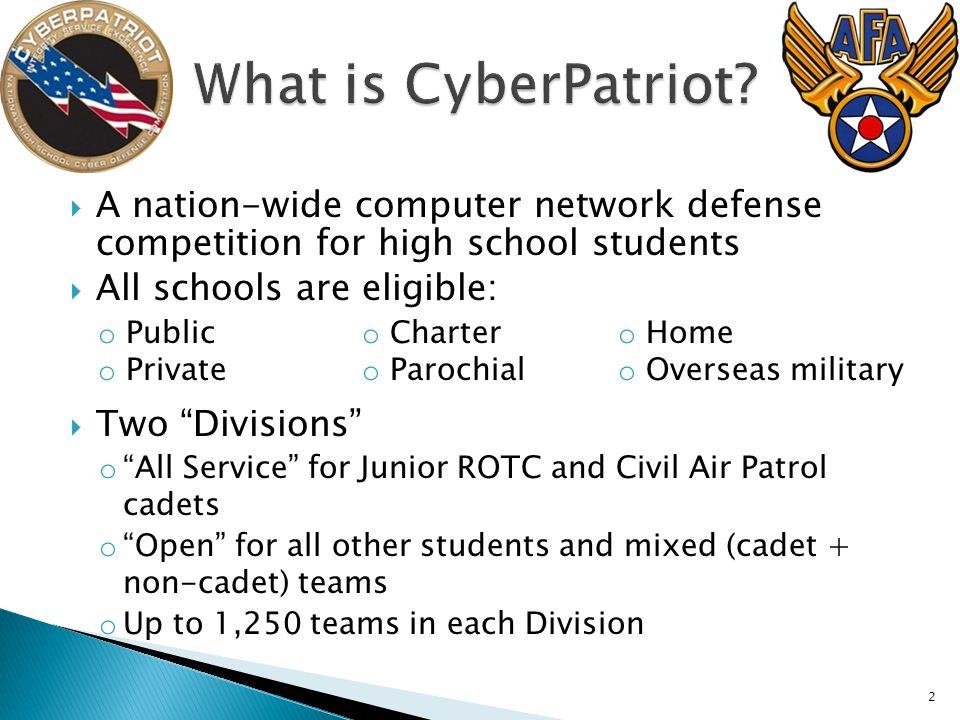  A nation-wide computer network defense competition for high school students  All schools are eligible: o Public o Private o Charter o Parochial o Home o Overseas military  Two Divisions o All Service for Junior ROTC and Civil Air Patrol cadets o Open for all other students and mixed (cadet + non-cadet) teams o Up to 1,250 teams in each Division 2