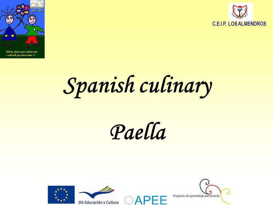 Spanish culinary Paella C.E.I.P. LOS ALMENDROS