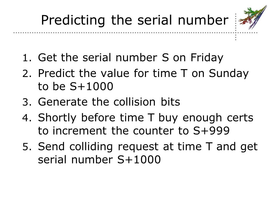 Predicting the serial number 1. Get the serial number S on Friday 2.