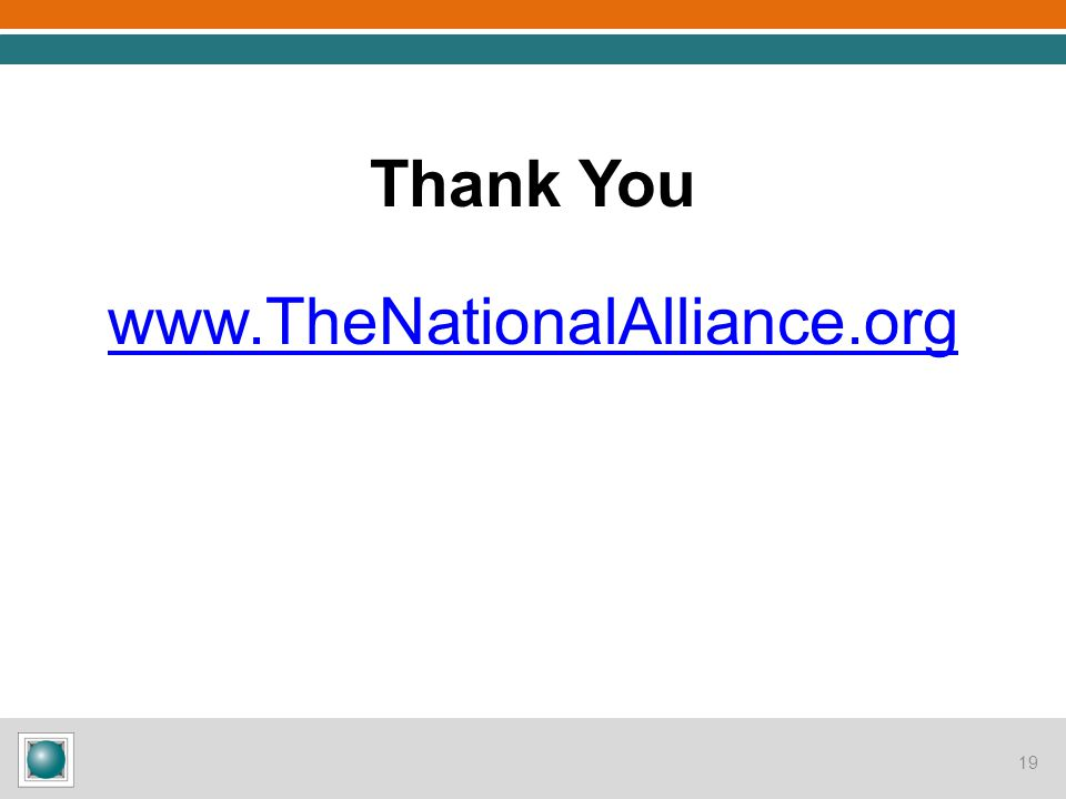 19 Thank You www.TheNationalAlliance.org