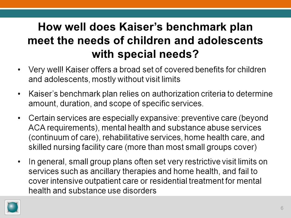 Are there particular services important to children with special needs that are limited or excluded from the benchmark plan.