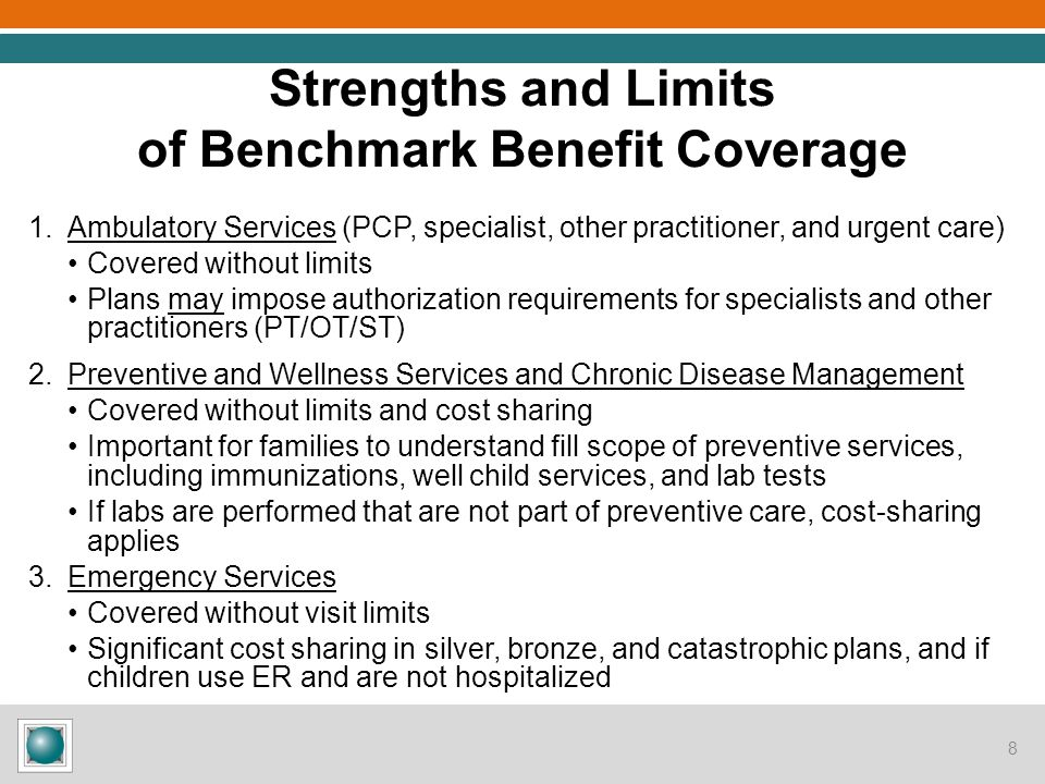 Strengths and Limits of Benchmark Benefit Coverage, cont'd 4.Hospitalization Covered without visit limits Significant cost sharing in silver, bronze, and catastrophic plans 5.