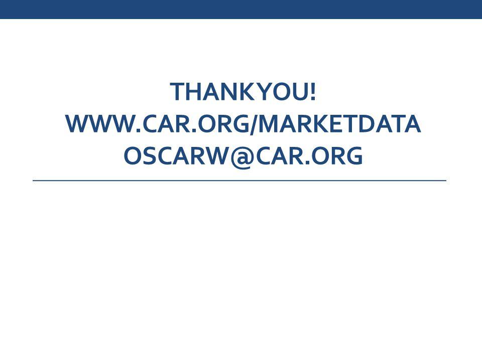 THANK YOU! WWW.CAR.ORG/MARKETDATA OSCARW@CAR.ORG