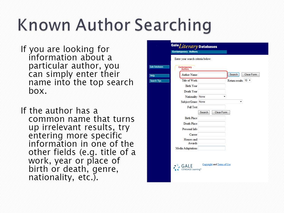 If you are looking for information about a particular author, you can simply enter their name into the top search box.