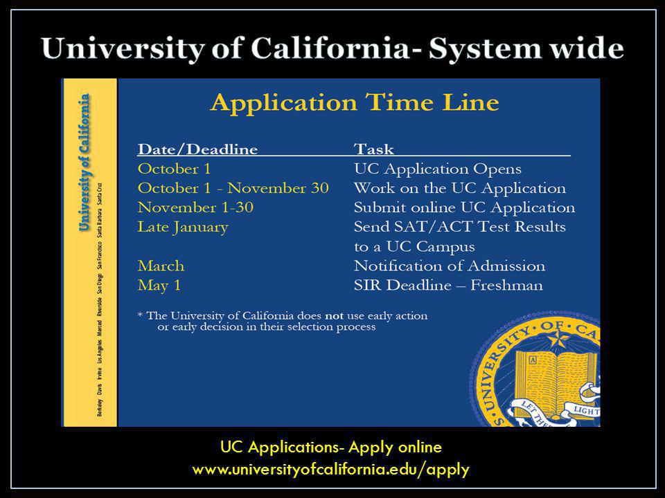 UC Applications- Apply online www.universityofcalifornia.edu/apply