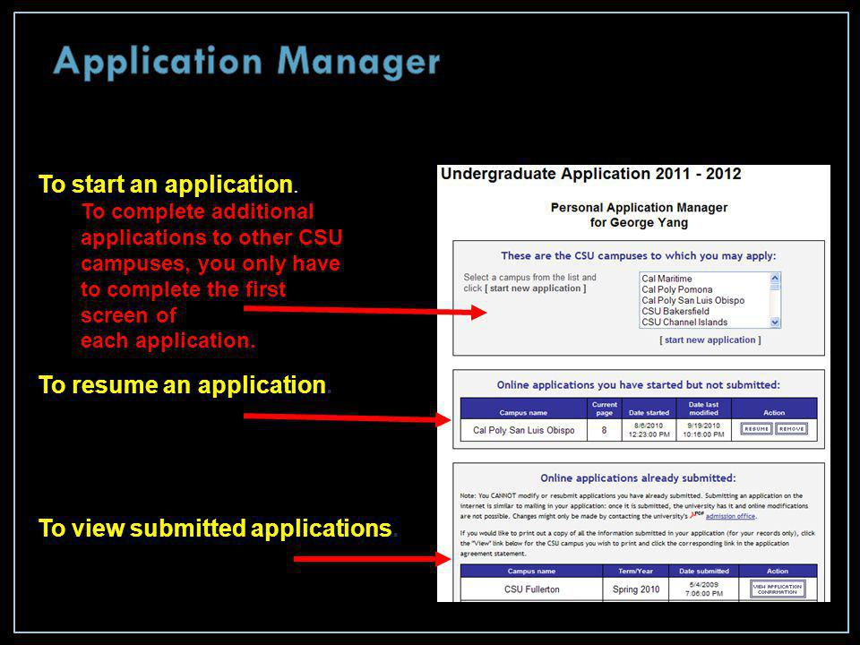 To start an application.