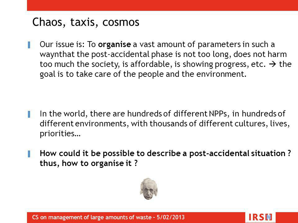 CS on management of large amounts of waste – 5/02/2013 Chaos, taxis, cosmos ▌ Our issue is: To organise a vast amount of parameters in such a waynthat