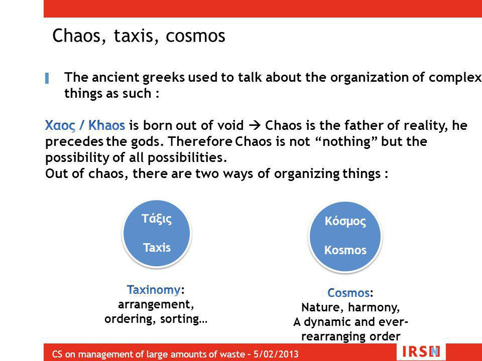 CS on management of large amounts of waste – 5/02/2013 Chaos, taxis, cosmos Τάξις Taxis Τάξις Taxis Κόσμος Kosmos Κόσμος Kosmos