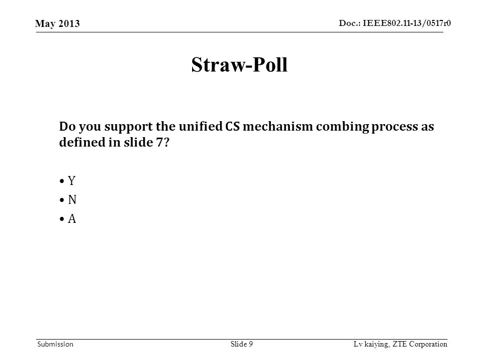 Doc.: IEEE802.11-13/0517r0 May 2013 Submission Straw-Poll Do you support the unified CS mechanism combing process as defined in slide 7? Y N A Lv kaiy
