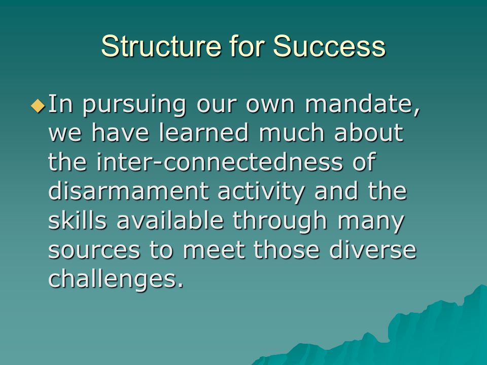 Structure for Success  In pursuing our own mandate, we have learned much about the inter-connectedness of disarmament activity and the skills available through many sources to meet those diverse challenges.