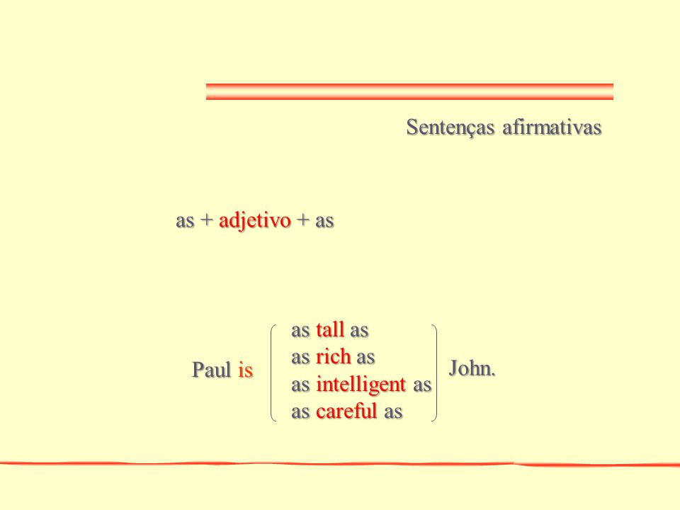 so + adjetivo + as Sentenças negativas so tall as so rich as so intelligent as so careful as Paul isn't John.
