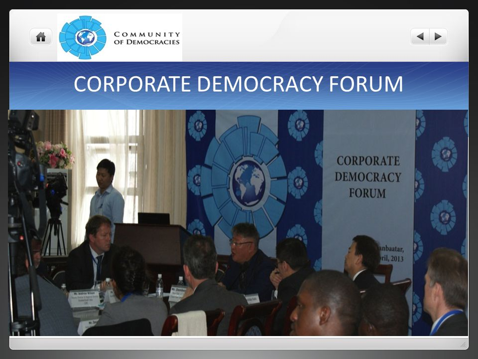 CORPORATE DEMOCRACY FORUM