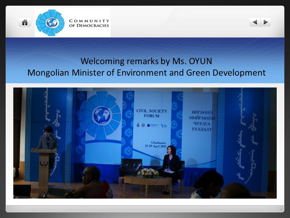 Welcoming remarks by Ms. OYUN Mongolian Minister of Environment and Green Development